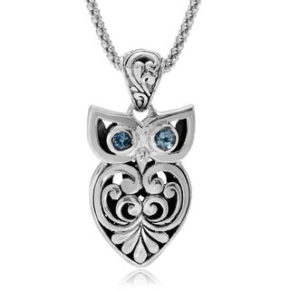 Journee Collection Sterling Silver Topaz Accent Bali Style Owl Pendant