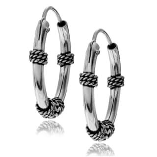 Journee Collection Sterling Silver Medium Bali Hoop Earring