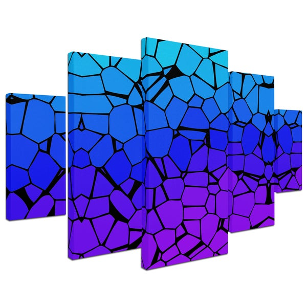 Master's Art 'Crystals of Blue and Purple' 5 Panel Art Set