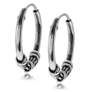 Journee Collection Sterling Silver Bali Hoop Earrings