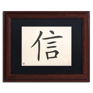'Faith - Horizontal White' Black Matte, Wood Framed Wall Art