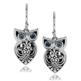 Journee Collection Sterling Silver Topaz Accent Bali Style Owl Dangle Earrings