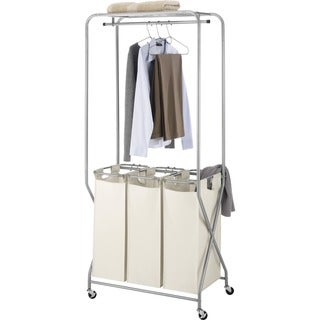 Whitmor 6640-5038 Easy-Lift Triple Laundry Sorter with Hanging Rod