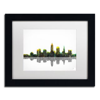 Marlene Watson 'Cleveland Ohio Skyline' White Matte, Black Framed Wall Art