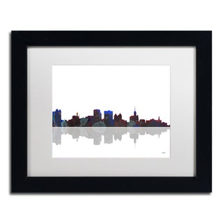 Marlene Watson 'Buffalo New York Skyline' White Matte, Black Framed Wall Art
