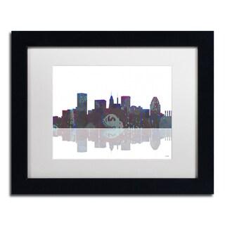 Marlene Watson 'Baltimore Maryland Skyline' White Matte, Black Framed Wall Art