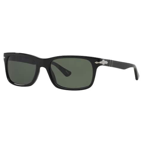 Persol Men's PO3048S Plastic Rectangle Sunglasses - Black - Large