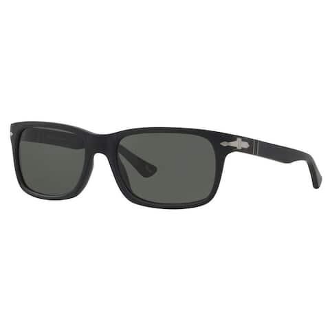 Persol Men's PO3048S Plastic Rectangle Polarized Sunglasses - Black - Large