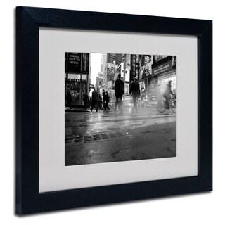 Yale Gurney '44th Street' White Matte, Black Framed Wall Art