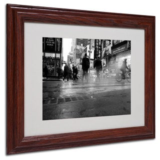 Yale Gurney '44th Street' White Matte, Wood Framed Wall Art