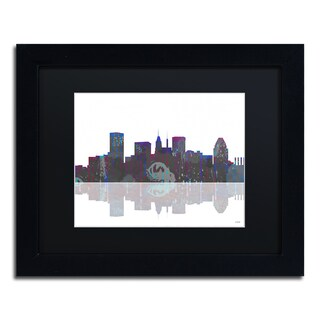 Marlene Watson 'Baltimore Maryland Skyline' Black Matte, Black Framed Wall Art