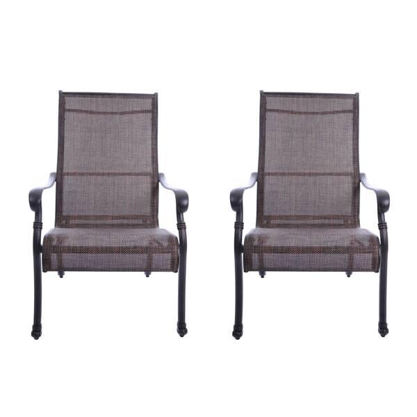 Gathercraft Casa Grande Bronze Outdoor Cast Aluminum Sling Dining Chair Set Of 2
