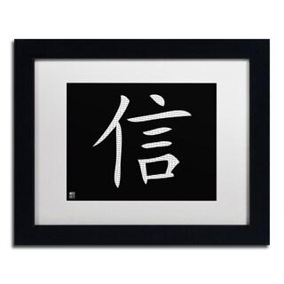 'Faith - Horizontal Black' White Matte, Black Framed Wall Art