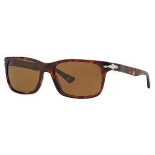 Persol Men's PO3048S 24/57 Brown Plastic Rectangle Polarized Sunglasses