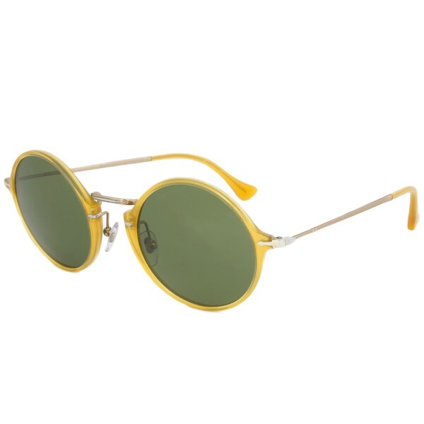 d6fe1e972c Persol Men  x27 s PO3091SM Plastic Round Polarized Sunglasses - Yellow -  Large