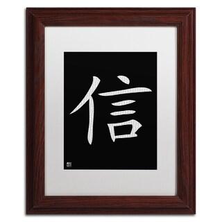 'Faith - Vertical Black' White Matte, Wood Framed Wall Art