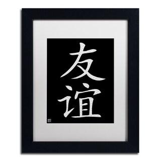 'Friendship - Vertical Black' White Matte, Black Framed Wall Art