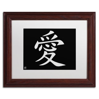 'Love - Horizontal Black' White Matte, Wood Framed Wall Art