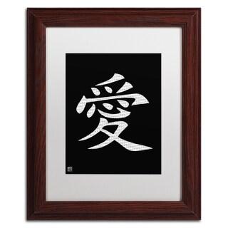 'Love - Vertical Black' White Matte, Wood Framed Wall Art