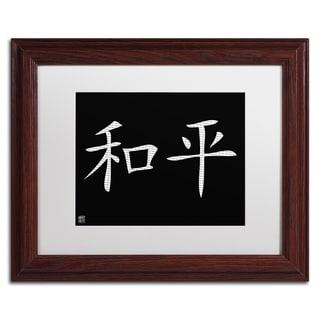 'Peace - Horizontal Black' White Matte, Wood Framed Wall Art