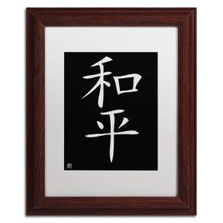 'Peace - Vertical Black' White Matte, Wood Framed Wall Art