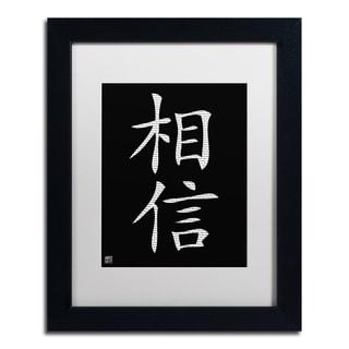'Believe - Vertical Black' White Matte, Black Framed Wall Art