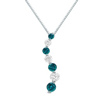 Auriya 3 4ctw Blue Diamond Journey Pendant Necklace 14k Gold