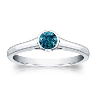Auriya 14k Gold 1/4ct TDW Round Blue Diamond Solitaire Bezel Ring (Blue)