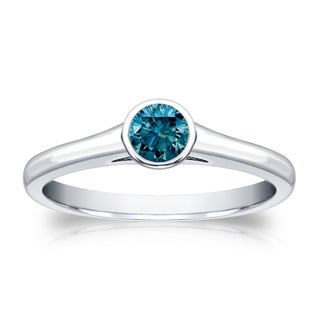 14k Gold Round 1/4ct TDW Solitaire Bezel Blue Diamond Engagement Ring by Auriya