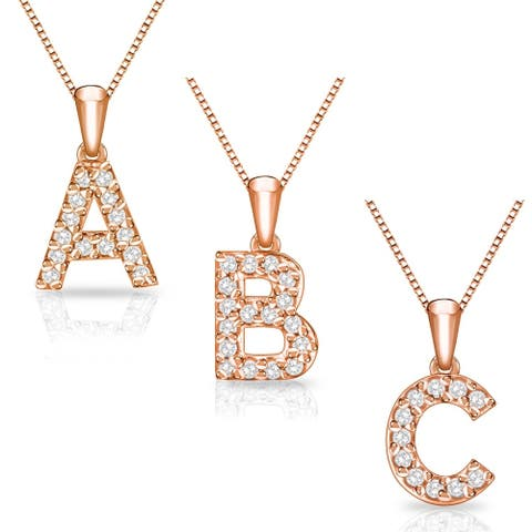 Auriya 1/10ctw Pave Accent Diamond Initial Pendant Necklace 14k Rose Gold