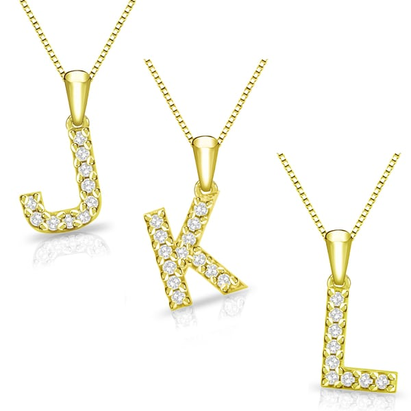 """14K Yellow Gold Letter /""""C/""""  Initial 17 Diamonds Pendant Necklace Perfect Gifts"""