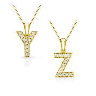 Auriya 14k Yellow Gold 1/10 ct TDW Initial Diamond Necklace (I-J, I1-I2)
