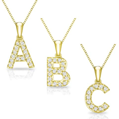 14k Yellow Gold 1/10ct TDW Diamond Accent Initial Necklace by Auriya