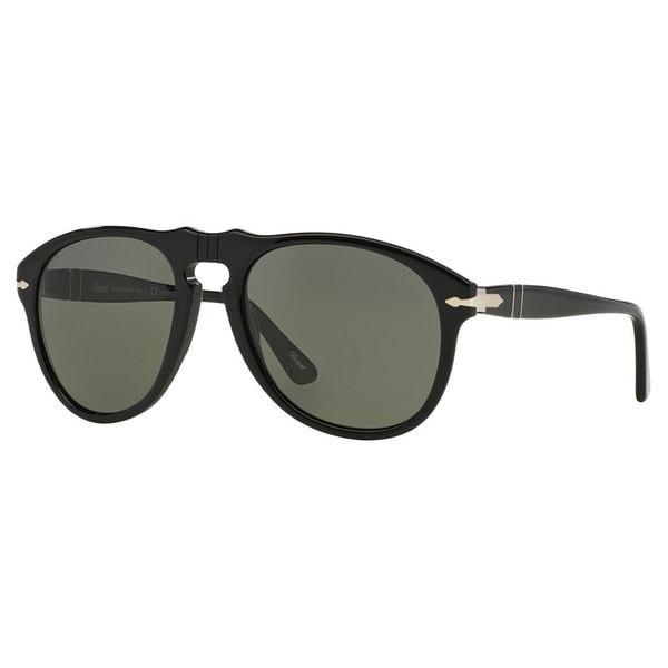 e90e732372 Persol Men  x27 s PO0649 Plastic Pilot Polarized Sunglasses - Black - Large