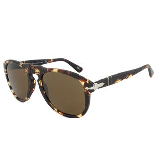 Persol Men's PO0649 Plastic Pilot Polarized Sunglasses