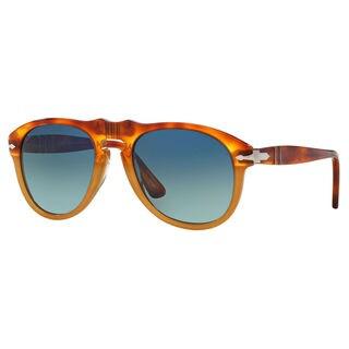 Persol Men's PO0649 Plastic Pilot Polarized Sunglasses