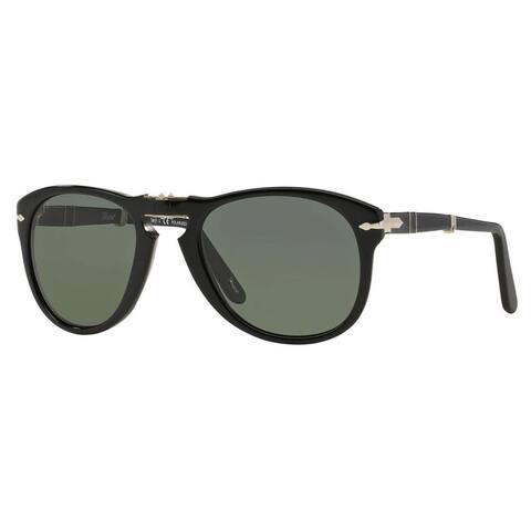 Persol Men's PO0714 Plastic Pilot Polarized Sunglasses - Black - Large