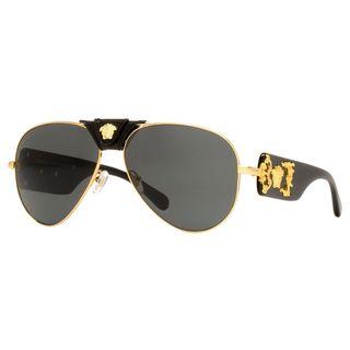 Versace Men's VE2150Q Plastic Pilot Sunglasses