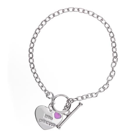 Sterling Essentials Sterling Silver 6-inch Little Princess Toggle Bracelet