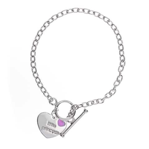 Sterling Silver Little Princess Toggle Bracelet ( 6-7- Inch )