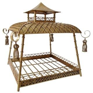 Light Burnished Goldtone Iron Pagoda Style Pet Bed