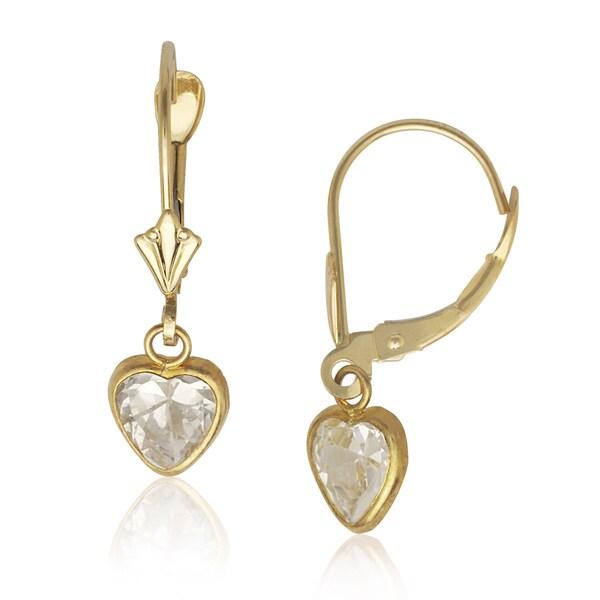 f86feba36 Shop 14k Yellow Gold Heart-shape Cubic Zirconia Dangle Leverback Earrings -  On Sale - Free Shipping Today - Overstock - 10458799