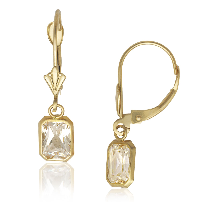 Gold Cubic Zirconia Crystal Drop Earrings