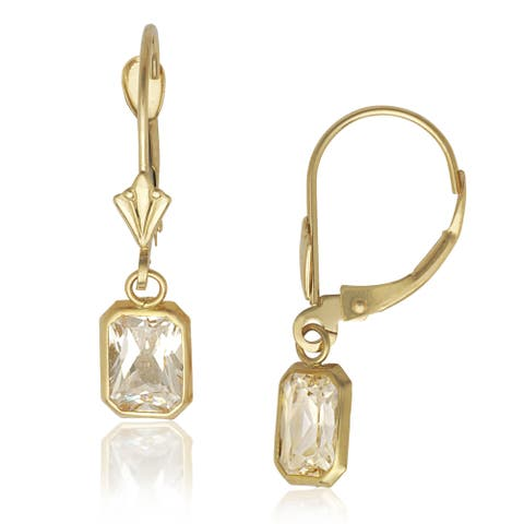 14k Yellow Gold Emerald-cut Cubic Zirconia Dangle Leverback Earrings - White