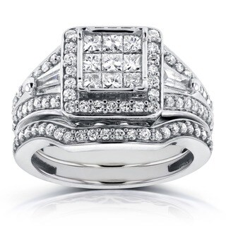 Annello by Kobelli 14k White Gold 1ct TDW Princess and Baguette Illusion Composite Diamond Bridal Se
