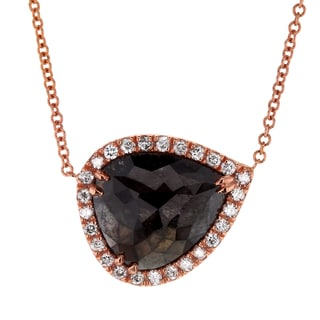 Annello by Kobelli 14k Rose Gold 2 3/4ct TDW Black and White Diamond Halo Teardrop Necklace