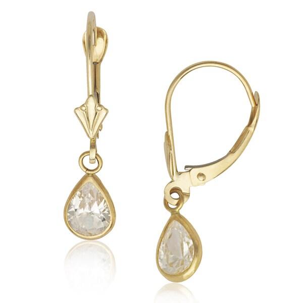 14k Yellow Gold Pear Shape Cubic Zirconia Dangle Leverback Earrings