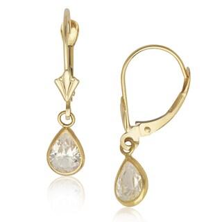 14k Yellow Gold Pear-shape Cubic Zirconia Dangle Leverback Earrings
