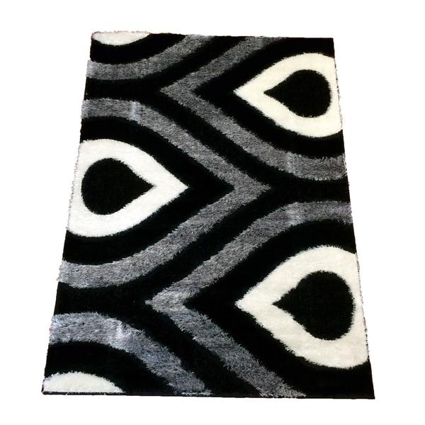 LYKE Home Rya Extra Plush Black Area Rug 8x11 - 7'10 x 10'2