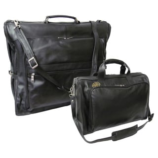 Amerileather Black Leather 2-piece Garment Bag and Travel Tote Set